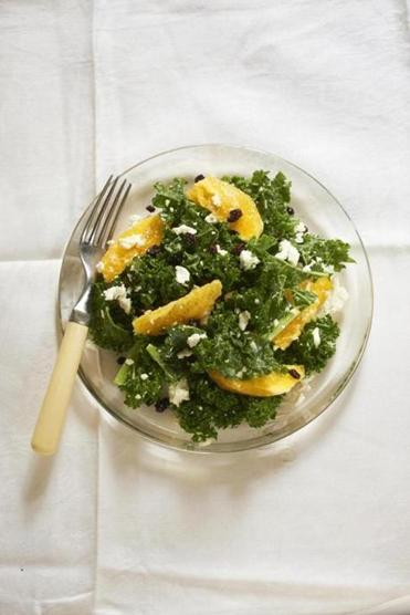 Either green (shown) or Tuscan kale is good in these salads.