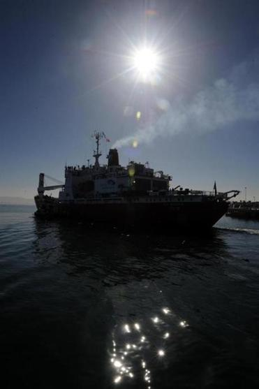 A South African ice-strengthened polar research/supply vessel leaves Cape Town Jan. 7, 2013, at the start of expedition to complete the last great polar challenge - crossing Antarctica in winter. Explorers Sir Ranulph Fiennes and Anton Bowring are leading a team of explorers.