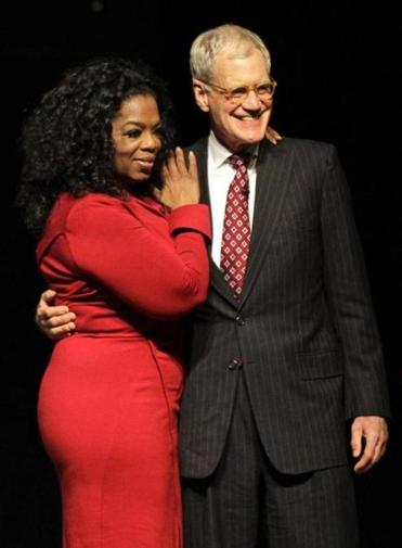 Oprah Winfrey and David Letterman in November at Ball State University in Muncie, Ind.