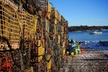Lobster traps on the Wiscasset waterfront.