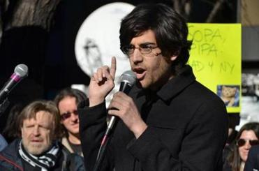 Aaron Swartz talks during an event in NewYork last January.