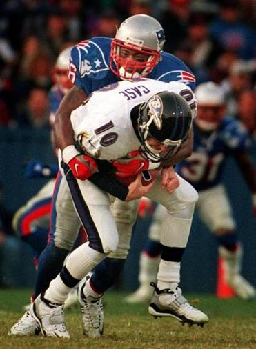 Lawyer Milloy sacked Ravens quarterback Stoney Case during the second half.