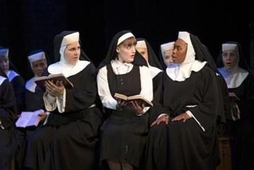 "A more demure Campbell (right) shares a scene with fellow sisters Florrie Bagel and Lael van Keuren. ""Sister Act,"" while predictable, offers a catechism of fun."