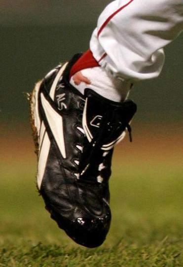 A blood stain was visible on pitcher Curt Schilling's right foot on Oct. 24, 2004.