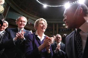 Senator Elizabeth Warren and Representative Edward Markey, who intends to run for US Senate, greeted Patrick as he arrived in the House chambers.