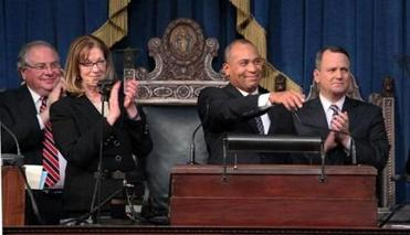 After Governor Deval Patrick gave his annual State of the Commonwealth address, House Speaker Robert A. DeLeo (left), Senate President Therese Murray, and Lieutenant Governor Timothy P. Murray rose to applaud.