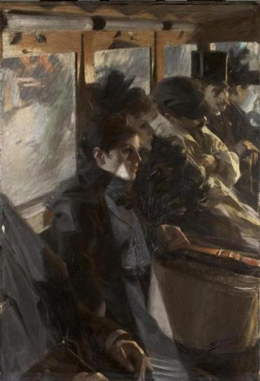 """Omnibus Paris,"" from 1892, the first painting Anders Zorn sold in the US, was purchased by Isabella Stewart Gardner, who became a patron of Zorn's."