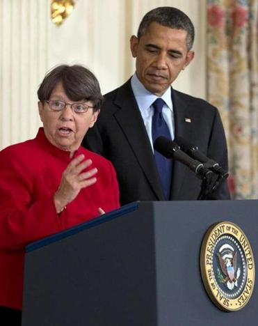 Mary Joe White spoke as President Barack Obama listened in the State Dining Room of the White House in Washington, Thursday, Jan. 24, 2013, after he announced that he will nominate her to lead the Security and Exchange Commission.