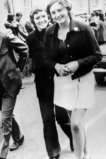 Dolours Price, left, and her sister Marian attended a civil rights demonstration in Belfast, Northern Ireland on June 4, 1972. Price, a veteran Irish Republican Army member at the center of allegations against Sinn Fein leader Gerry Adams, was found dead at her home in January/