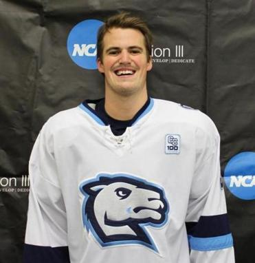Connecticut College senior hockey defenseman Dawson Luke of Wellesley, a former Belmont Hill captain.