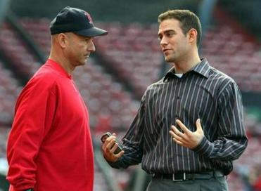 Francona developed a strong working relationship with Theo Epstein, right.