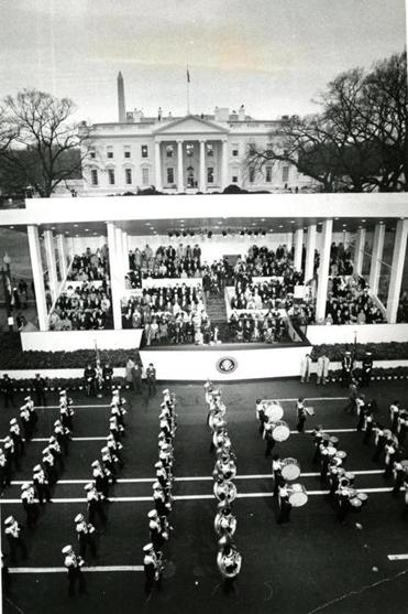 The University of Massachusetts band walked by the reviewing stand in front on the White House.