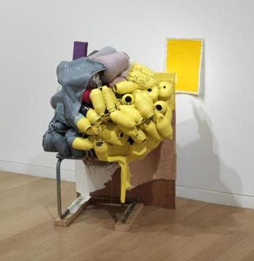 "Jessica Stockholder's ""Kissing the Wall #5 With Yellow.''"