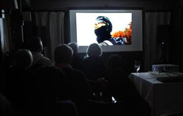"A scene from ""Ride Crazy: The Single Man March'' during its screening at the 51 Lincoln restaurant in Newton last month."