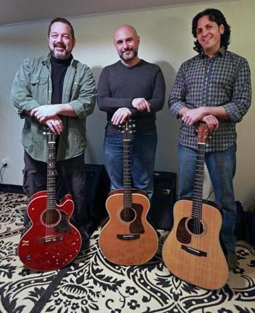 """We had this competitive and supportive relationship among us,"" says Jon Svetkey (above right), about his fellow folk mates in End Construction, Brian Doser and Jim Infantino (above, from left) and Ellis Paul (below)."