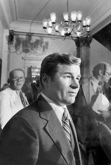 New Senate President  Bill Bulger emerged from the Senate Chambers in 1978.