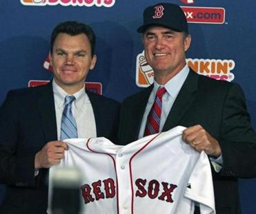 General manager Ben Cherington (left) with John Farrell, new Sox manager