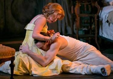 "Scarlett Johansson as Maggie and Benjamin Walker as Brick in the current Broadway revival of ""Cat on a Hot Tin Roof."""
