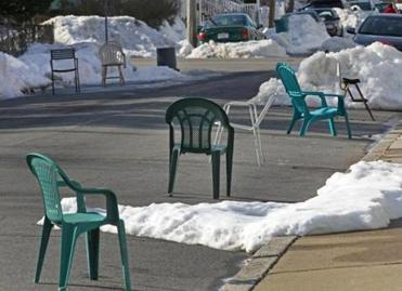 Summer lawn chairs worked in Allston.