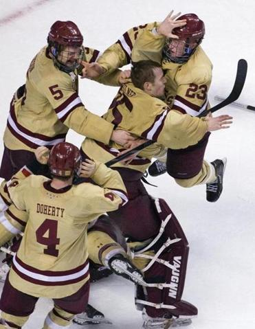 BC players began to celebrate after winning the Beanpot.