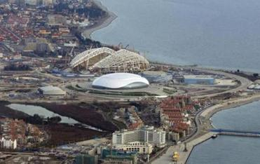 Work is continuing at many of the venues in Sochi, including the Olympic stadium.