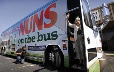 Sister Simone Campbell stepped off the bus during the Nuns on the Bus tour, last June, an effort to call attention to social justice issues in the November elections.