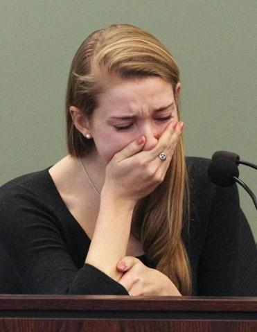 Genevieve Flynn, 20, who had been Lauren Astley's best friend, broke down during testimony during the murder trial of Nathaniel Fujita at Middlesex Superior Court on Wednesday.