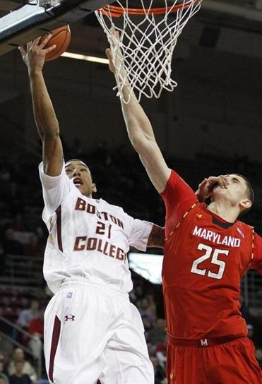 Maryland center Alex Len was called for a foul on this layup attempt by BC guard Olivier Hanlan in the first half.