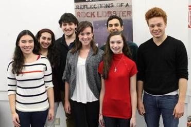 "The cast of the Boston Children's Theatre production of ""Reflections of a Rock Lobster"" includes (left to right) Emma Baxendale of Brookline, Julia Fein of Newton, Larson Miller of Weston, Hannah Doyon of Arlington, Felix Teich of Brookline, Ainsleigh Caldicott of Sherborn, and Paul McCallion of Dover. The play runs March 9-17 at the Boston Center for the Arts Wimberly Theatre, 527 Tremont St. in Boston."