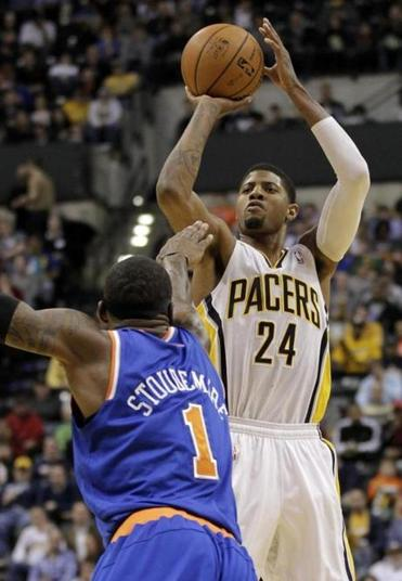 Paul George scored a game-high 27 points on 11-of-19 shooting to lead the Pacers to a rout of the Knicks.