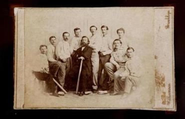 What may be the first dated baseball card in history: a 1865 photograph of the Brooklyn Atlantics.