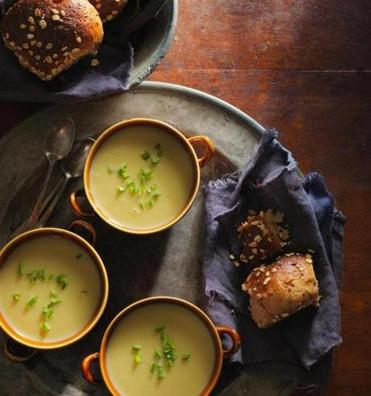 Leeks, bay leaves, onion, and parsley flavor this simple potato soup.