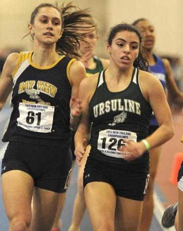 Ursuline sophomore Amy Piccolo was best in the 600 in Division 4, best at the All-State meet, and took second (above) at New Englands.