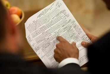 Among his memorabilia from the White House, a photo of Obama's health care speech marked up by the president.