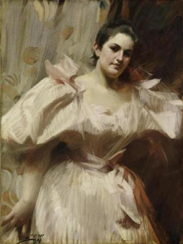 Detail of an 1894 portrait of Frieda Schiff by Anders Zorn.