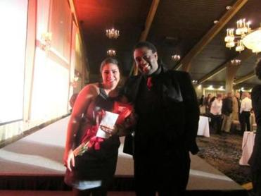 This winner, Sheree Dunwell, with last year's victor, Fred VanNess, after the contest at the Danversport Yacht Club.