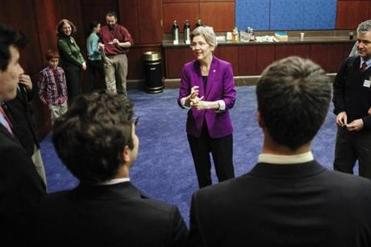 Senator Elizabeth Warren must meet groups in the Capitol Visitors Center because her office cannot accommodate them.