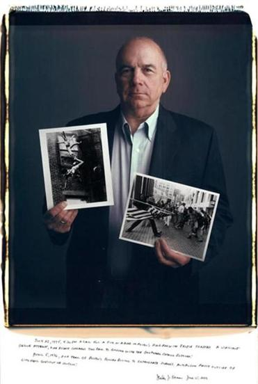 "Longtime Boston photojournalist Stanley Forman with his Pulitzer-winning pictures. Forman's new book, ""Before Yellow Tape,'' showcases his photos from decades of work."