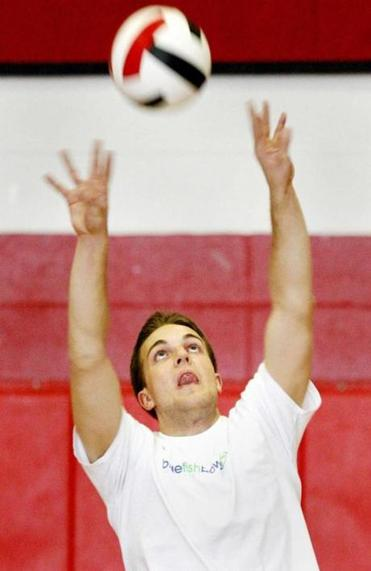 Milford Boys Volleyball Practice Co-Captain Tim MacMannis go through drills at practice.