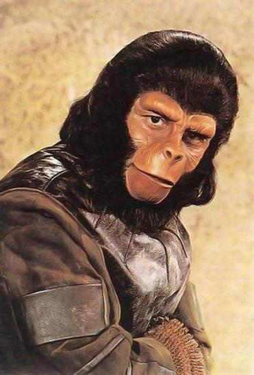 "Roddy McDowell as Galen in ""The Planet of the Apes."""