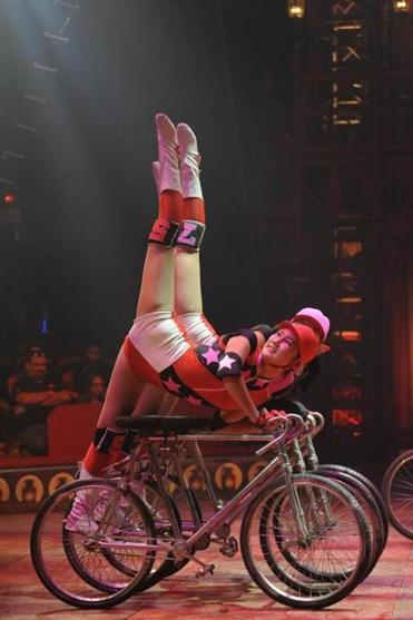 The Chinese Dalian Acrobatic Troupe on bicycles.