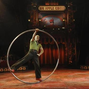Daniel Cyr spinning in the metal hoop he invented 10 years ago.