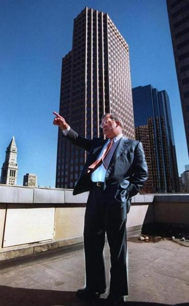 Boston Mayor Thomas M. Menino standing on a downtown rooftop in an undated photo.