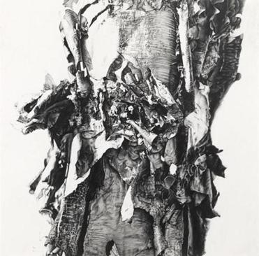 "An image from Sandra Allen's graphite drawing exhibit ""Trunks."""