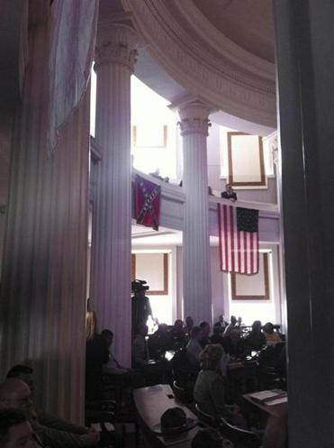 A Confederate flag is on display at the old Capitol, which houses the governor's office and hosts government events.