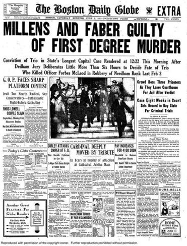 The front page of The Boston Globe the day a verdict was reached in the Millen-Faber gang trial.