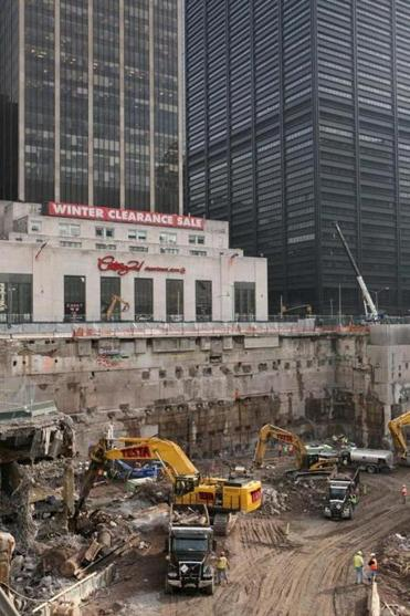 Construction workers and equipment excavated the southeastern corner of the World Trade Center site. The remains of many victims were never found.