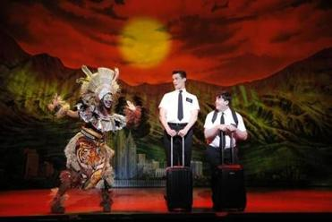 "From left: Phyre Hawkins, Mark Evans, and Christopher John O'Neill in ""The Book of Mormon.''"