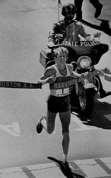 Bill Rodgers crosses the finish line in 1980 for his fourth Boston Marathon win.