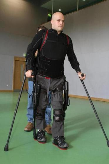 Pollock trying out his robotic legs.